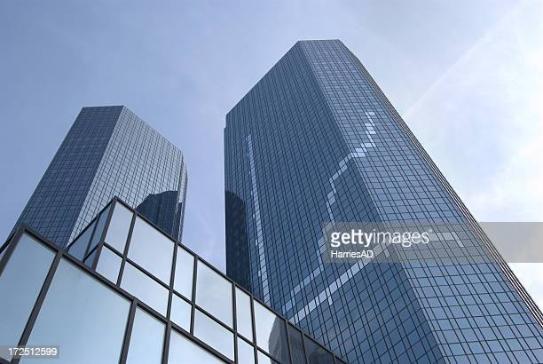 View of two skyscrapers from the ground