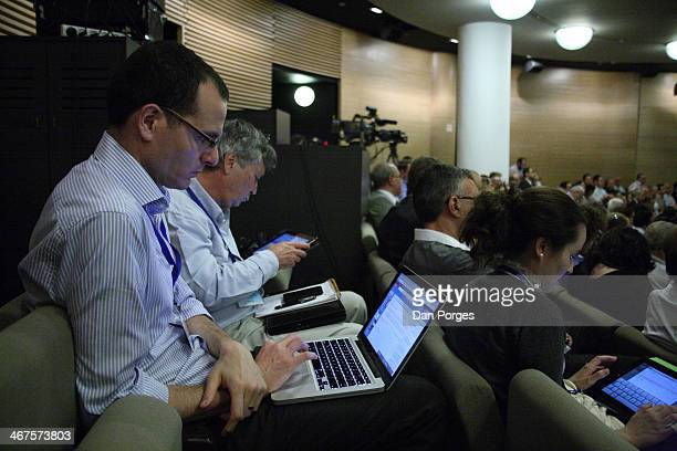 View of unidentified journalists as they cover a Bank of Israel conference in the auditorium of the Israel Museum Jerusalem Israel June 18 2013