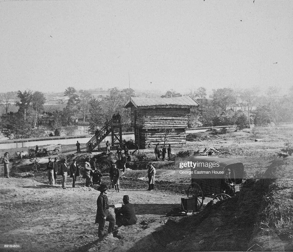 View of Union Army soldiers gathered about the Block House near Fort Corcoran 1862