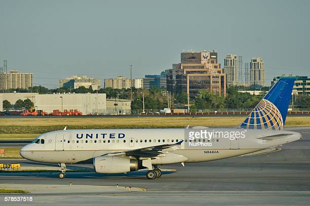 A view of United plane at Toronto Pearson International Airport On Wednesday 20 July 2016 in Toronto Canada