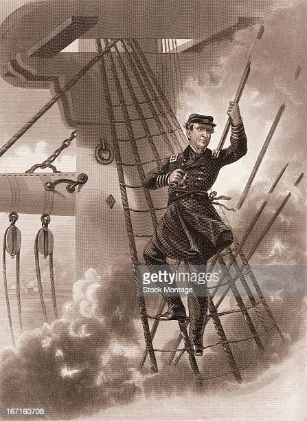 View of United States naval commander David Glasgow Farragut perched in the rigging of his ship to get a better view of the battle scene as the ship...