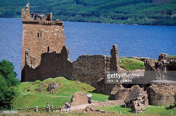 View of Urquhart Castle with Loch Ness in the background near Drumnadrochit Invernessshire Scotland
