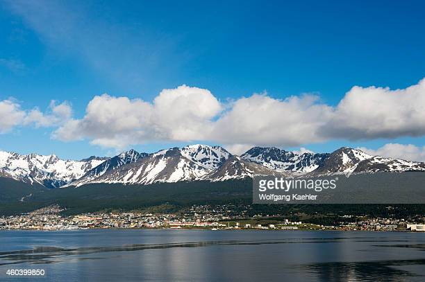 View of Ushuaia the capital of Tierra del Fuego in Argentina from the Beagle Channel