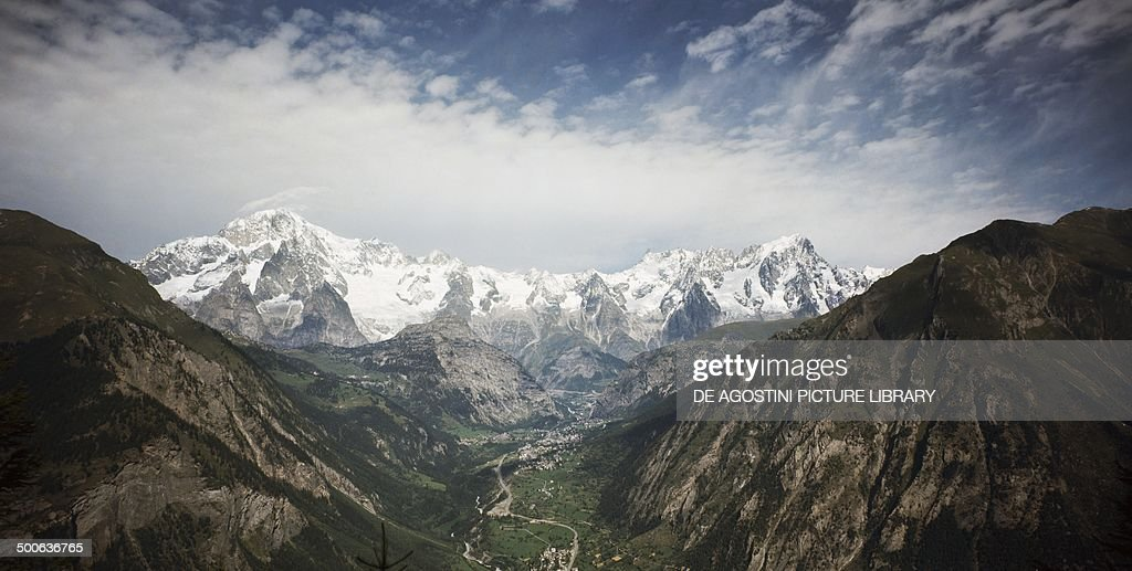 View of Valdigne from PreSaintDidier in Courmayeur with the Mont Blanc massif in the background Aosta valley Italy