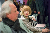 View of Vanity Fair editors Graydon Carter and Anna Wintour as they attend a Christian Dior fashion show Paris France 2010