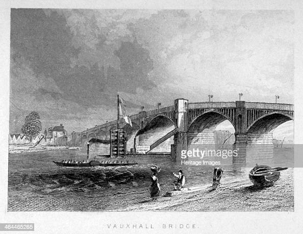 View of Vauxhall Bridge with a steamboat on the Thames London c1847