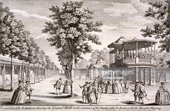 View of Vauxhall Gardens Lambeth London c1751 showing the Grand Walk at the entrance and the orchestra