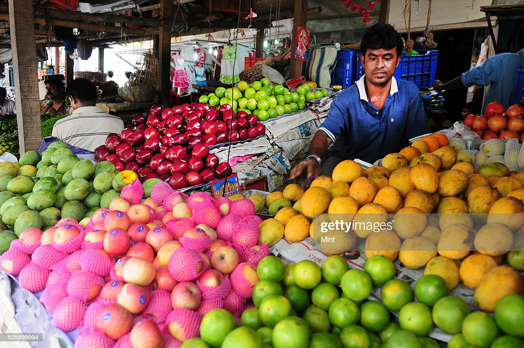 A view of vegetable daily market at Banshdroni, Southern fringe of the city suburb on May 27, 2015 in Kolkata, India.