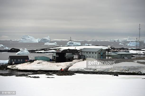 View of Vernadsky Research Base an Ukrainian Antarctic Station at Marina Point on Galindez Island Antarctica on March 02 2016 Scientists call...