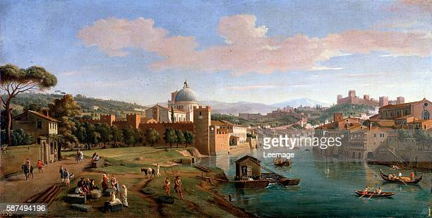 View of Verona and the banks of the Adige river Painting by Gaspare Vanvitelli Florence Galleria Palatina