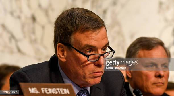 View of Vice Chairman of the Senate Intelligence Committee Senator Mark Warner during a hearing Washington DC June 13 2017 The committee was in...