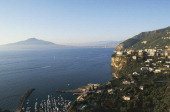 View of Vico Equense and port Campania Italy