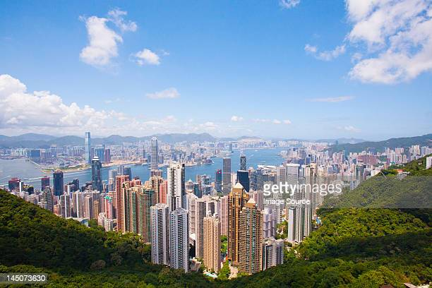 View of Victoria Harbour and Central from Victoria Peak, Hong Kong