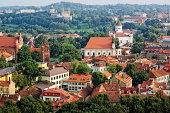 Bird's eye view of Vilnius old town from Gediminas' Tower, Lithuania