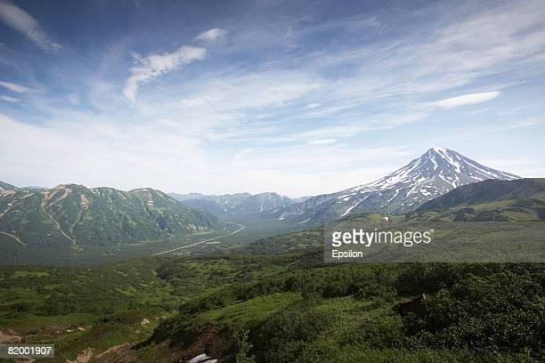 View of Vilyuchinskaya sopka volcano August 19 2007 in Kamchatka Russia Kamchatka has the highest density of volcanos and associated volcanic...