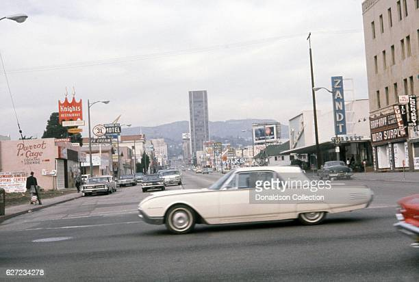 A view of Vine Street looking north from the intersection of Vine and Santa Monica Boulevard in December 1963 in Los Angeles California