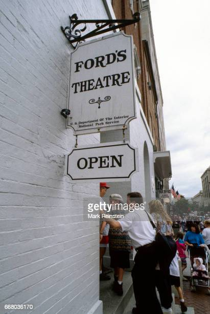 View of visitors on the steps outside Ford's Theatre Washington DC May 1995