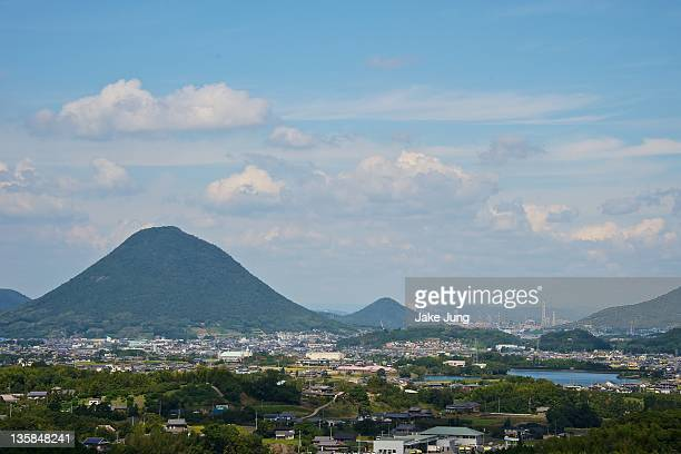 View of volcanic mountains in kagawa Prefecture