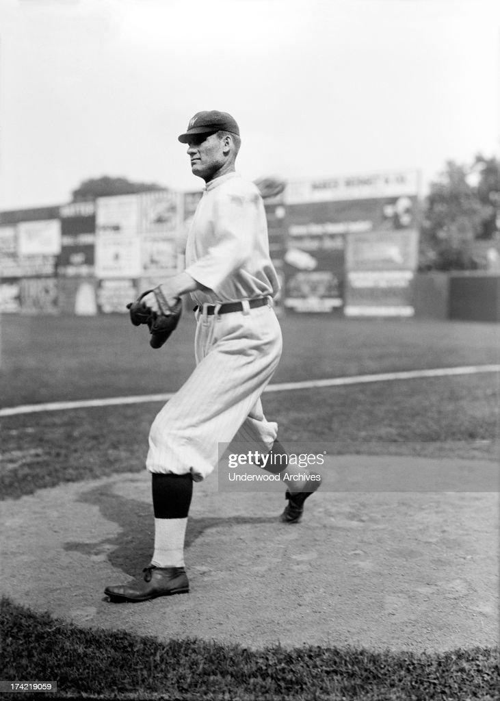 View of Walter Johnson star pitcher for the Washington Senators on the mound Washington DC 1913