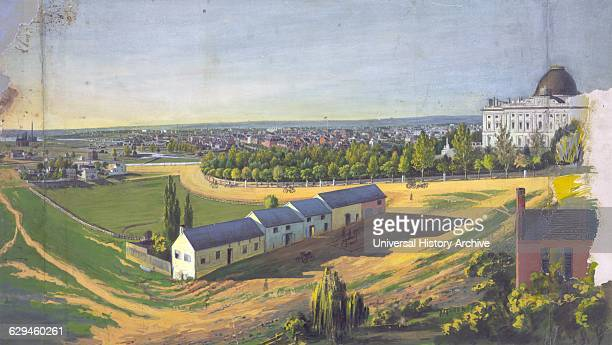 View of Washington DC looking northwest from southeast of the US Capitol by Augustus Kollner Drawing watercolour and gouache Drawing of stables in...
