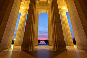 View of Washington Monument from Lincoln Memorial at Sunrise, Washington DC