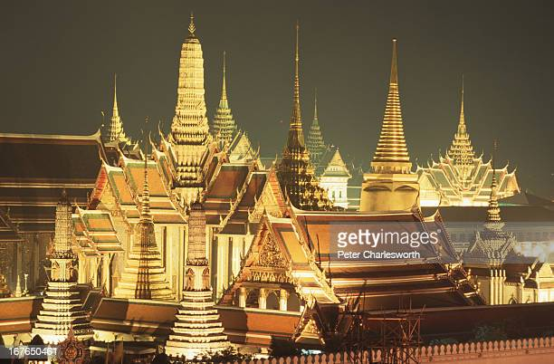 A view of Wat Phra Kaew or the Temple of the Emerald Buddha at the Grand Palace