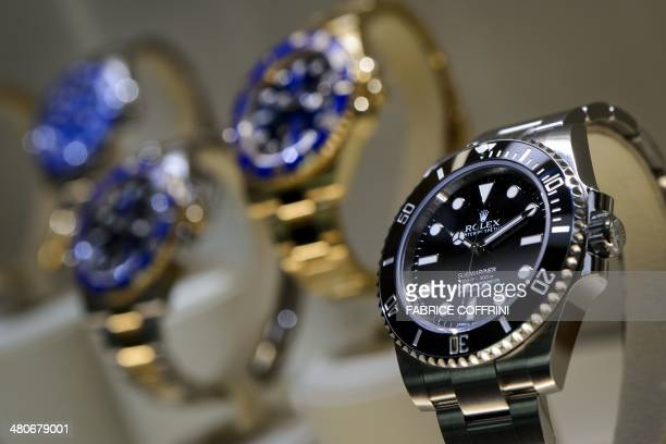 A view of watches by Swiss watchmaker Rolex during the media day of the 42nd edition of the 'Baselworld' watch fair on March 26 in Basel The world's...