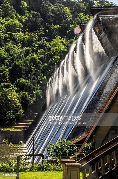 View of water flowing at dam