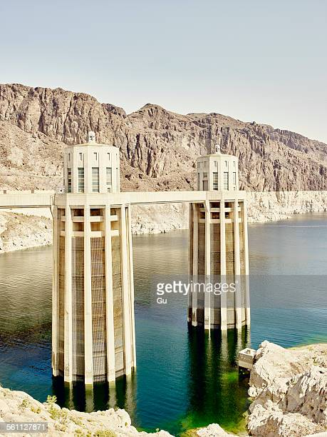 View of water towers at Hoover Dam, Nevada, USA