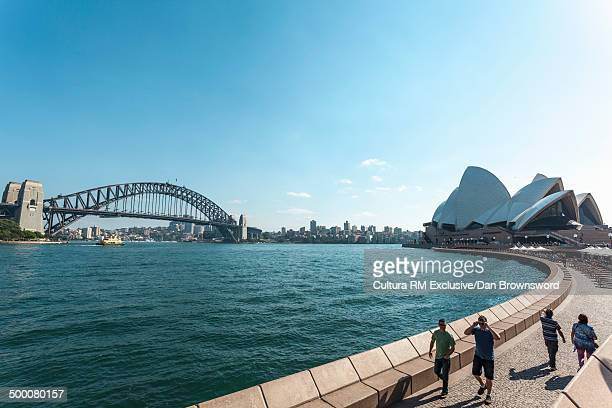 View of waterfront and Sydney Bridge, New South Wales, Australia