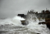 View of waves in Gibara Holguin province Cuba on August 25 during tropical storm Isaac AFP PHOTO/STR