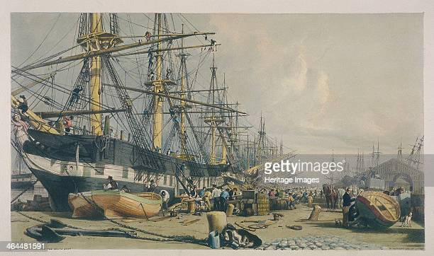 View of West India Docks from the south east 1840 Showing figures making repairs to ships and boats or handling cargo