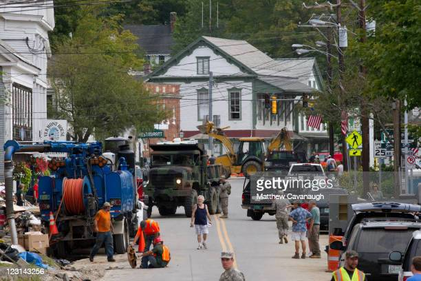 A view of West Main Street where citizens and military are cleaning up after Tropical Storm Irene caused severe flooding in the town's center on...