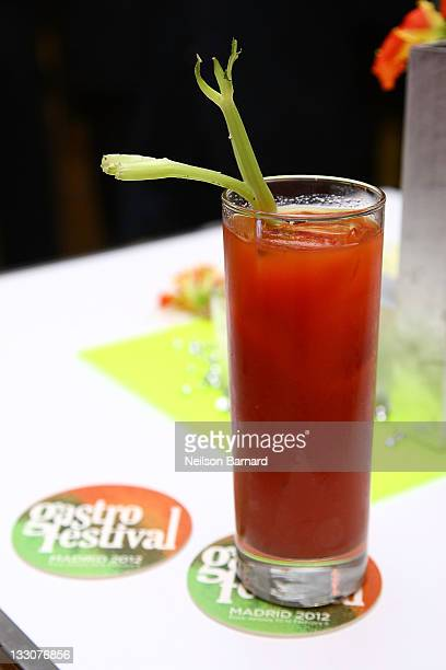 View of white truffle Bloody Mary by O'Clock mixologist Carlos Moreno at The Loft at The International Culinary Center on November 16 2011 in New...