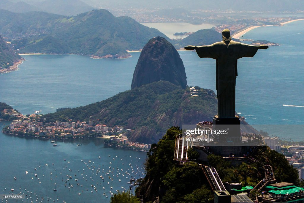View of with Christ the Redeemer and Sugar Loaf at background on November 12, 2013 in Rio de Janeiro, Brazil.