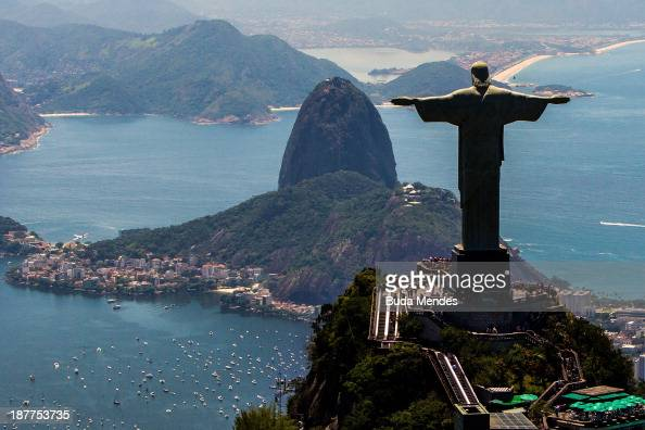 View of with Christ the Redeemer and Sugar Loaf at background on November 12 2013 in Rio de Janeiro Brazil