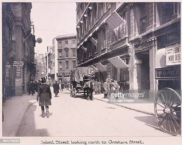 View of Wood Street looking north to Gresham Street London 1920 with a street scene