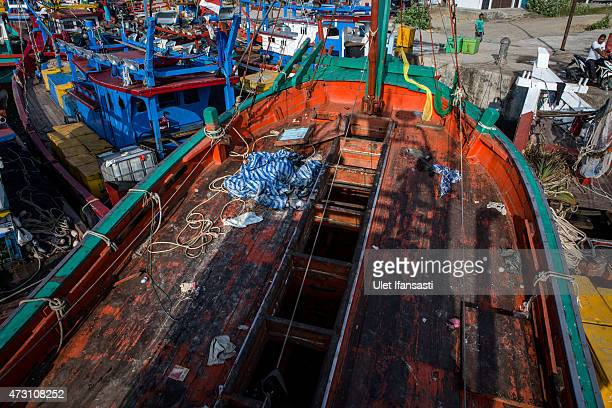 A view of wooden boat which carried Rohingya and Bangladesh migrants at fishing port on May 13 2015 in Lhokseumawe Aceh province Indonesia Boats...