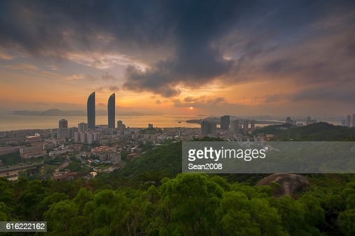 View of xiamen gulangyu island from wulao peak at dusk : Stock Photo