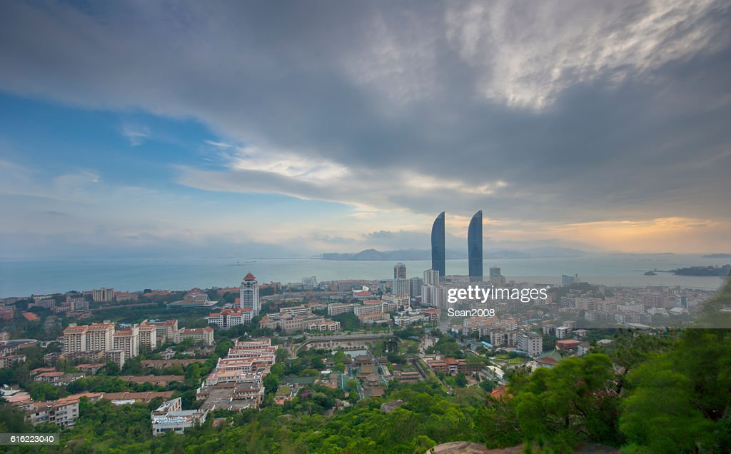 View of xiamen univeristy from wulao peak : Stockfoto