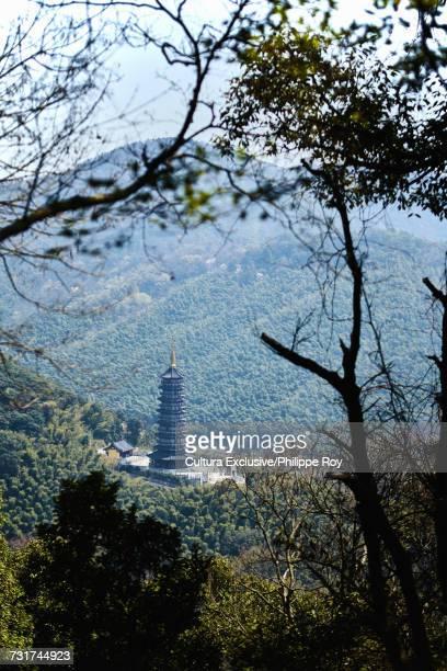 View of Xishan temple in mountain forests, Ningbo, Zhejiang, China
