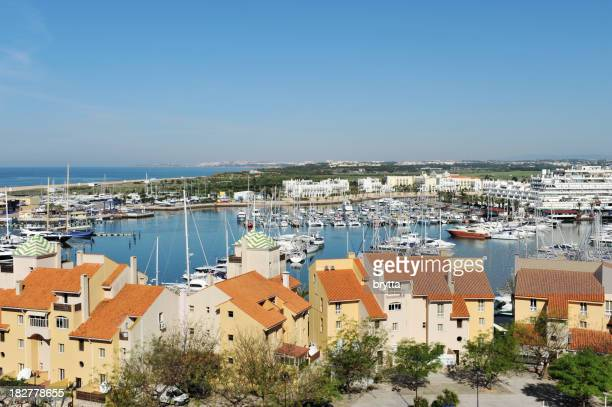 View of yachting marina with blue sky