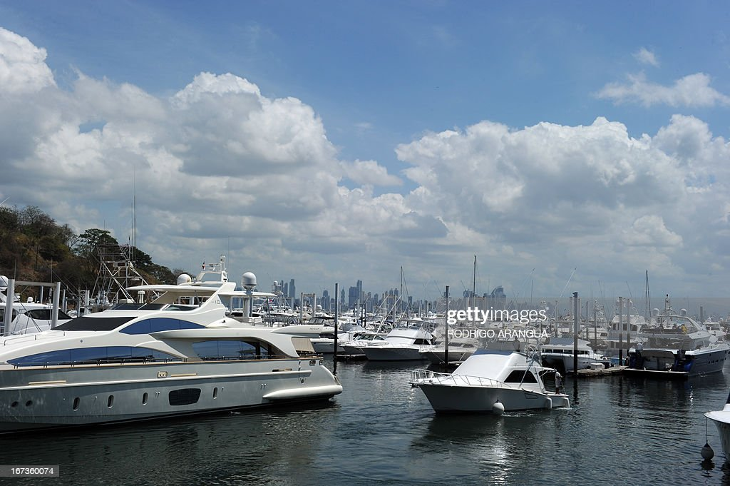 View of yachts at Puerto Amador, in the suburbs of Panama City on April 24, 2013. AFP PHOTO/ Rodrigo ARANGUA