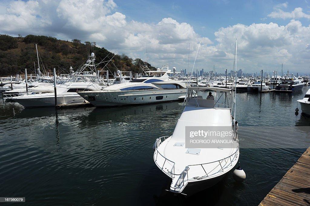 View of yachts at Puerto Amador, in the suburbs of Panama City on April 24, 2013. AFP PHOTO/ Rodrigo ARANGUA