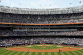 A view of Yankee Stadium from center field during the New York Yankees game against the Cleveland Indians on April 17 2009 in the Bronx borough of...