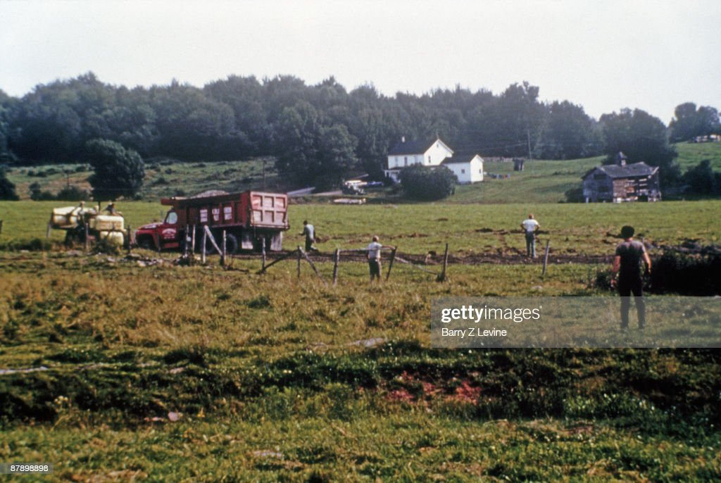 View of Yasgur's dairy farm as construction begins on the the Woodstock Music and Arts Fair, Bethel, New York, early August, 1969. The festival was held between August 15 and 18 on land leased from farmer Max Yasgur.