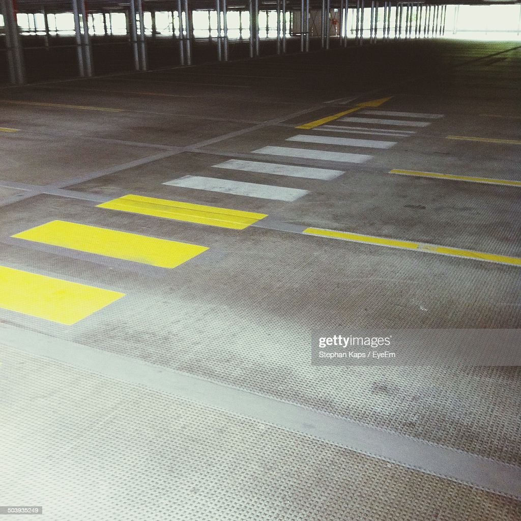 View of yellow and white lines on road