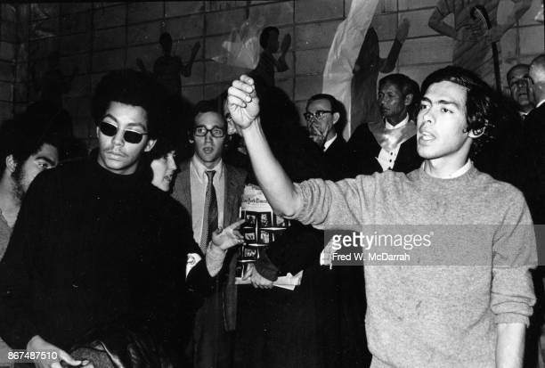 View of Young Lords' Minister of Information Pablo 'Yorba' Guzman and Minister of Education Juan Gonzalez during the group's takeover of the First...