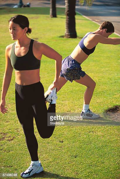 view of young women exercising