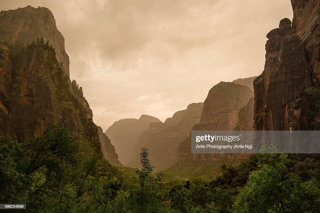 View of Zion Canyon on a Drizzling and Cloudy Morning in Zion National Park, Utah, United States of America